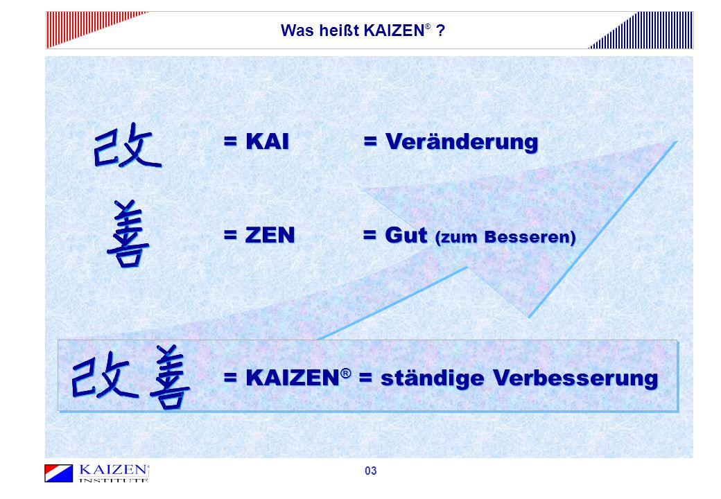 03 = KAI = Veränderung = KAIZEN ® = ständige Verbesserung = ZEN = Gut (zum Besseren) Was heißt KAIZEN ® ?