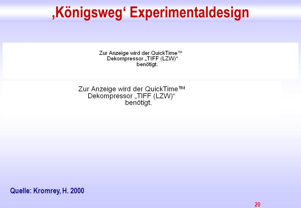 20 Königsweg Experimentaldesign Quelle: Kromrey, H. 2000