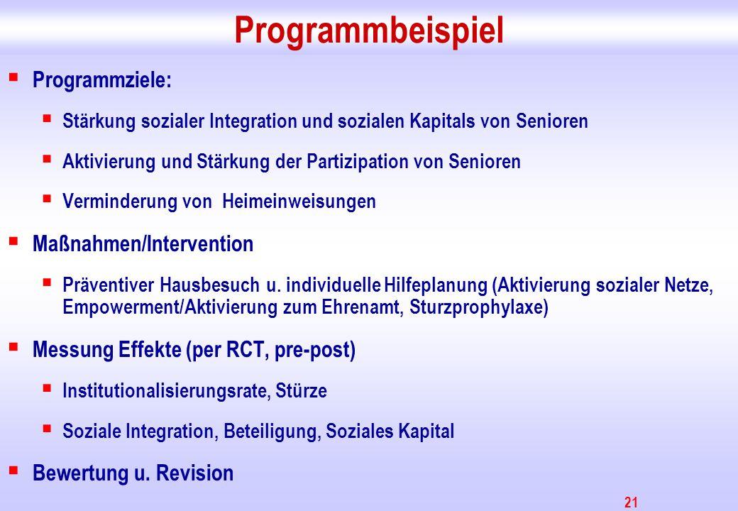 21 Programmbeispiel Programmziele: Stärkung sozialer Integration und sozialen Kapitals von Senioren Aktivierung und Stärkung der Partizipation von Sen
