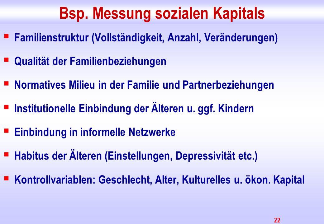 22 Bsp. Messung sozialen Kapitals Familienstruktur (Vollständigkeit, Anzahl, Veränderungen) Qualität der Familienbeziehungen Normatives Milieu in der
