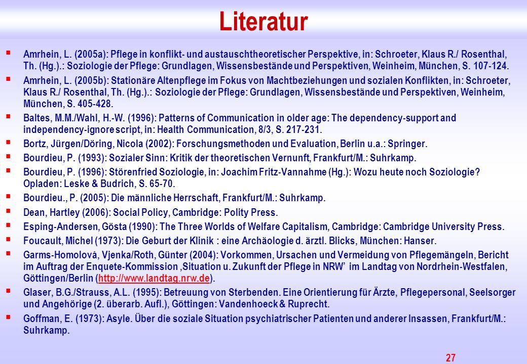 27 Literatur Amrhein, L. (2005a): Pflege in konflikt- und austauschtheoretischer Perspektive, in: Schroeter, Klaus R./ Rosenthal, Th. (Hg.).: Soziolog