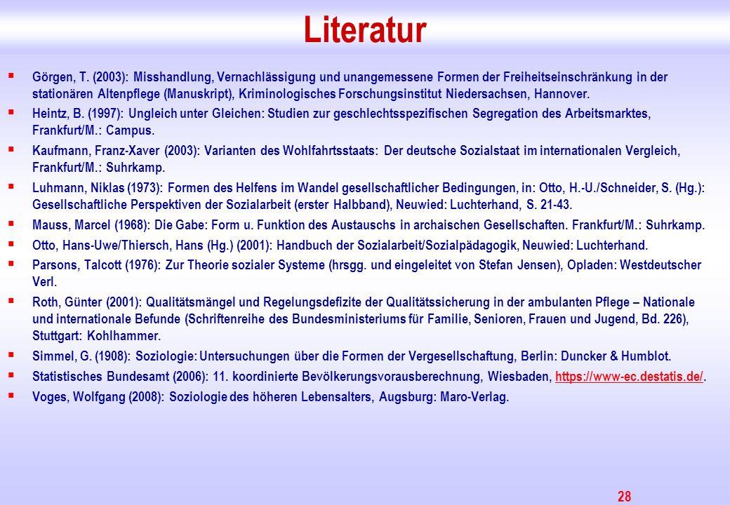 28 Literatur Görgen, T. (2003): Misshandlung, Vernachlässigung und unangemessene Formen der Freiheitseinschränkung in der stationären Altenpflege (Man