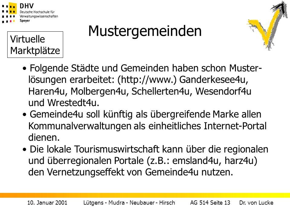 10. Januar 2001 Lütgens - Mudra - Neubauer - Hirsch AG 514 Seite 13 Dr. von Lucke Mustergemeinden Folgende Städte und Gemeinden haben schon Muster- lö