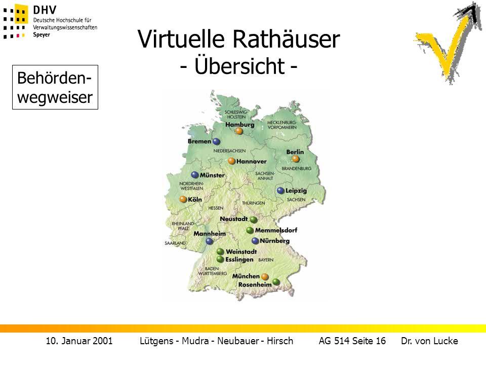 10. Januar 2001 Lütgens - Mudra - Neubauer - Hirsch AG 514 Seite 16 Dr. von Lucke Virtuelle Rathäuser - Übersicht - Behörden- wegweiser