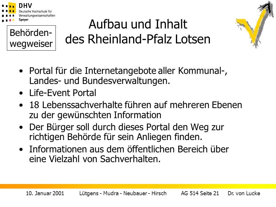 10. Januar 2001 Lütgens - Mudra - Neubauer - Hirsch AG 514 Seite 21 Dr. von Lucke Aufbau und Inhalt des Rheinland-Pfalz Lotsen Behörden- wegweiser Por