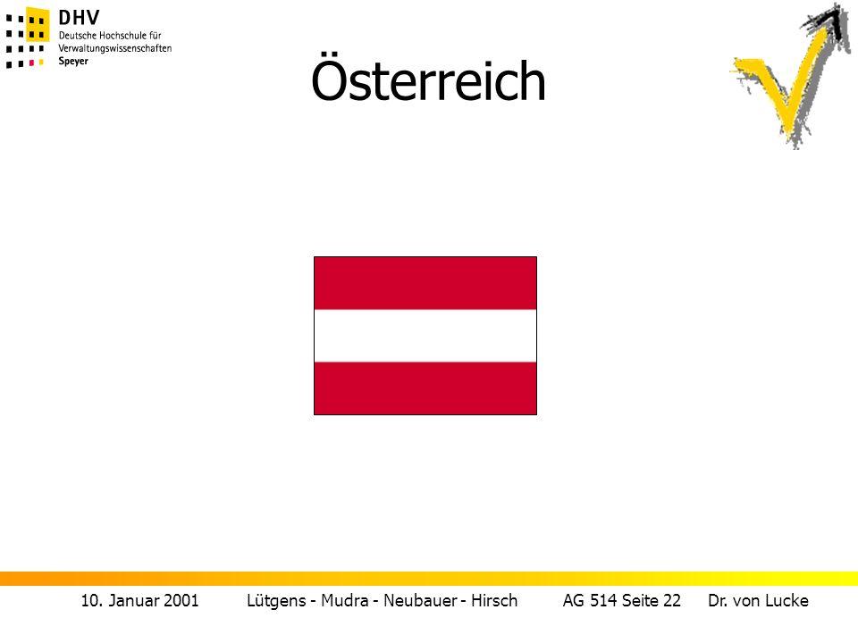 10. Januar 2001 Lütgens - Mudra - Neubauer - Hirsch AG 514 Seite 22 Dr. von Lucke Österreich