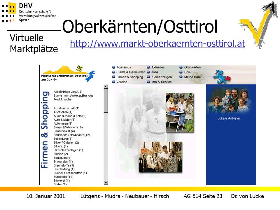10. Januar 2001 Lütgens - Mudra - Neubauer - Hirsch AG 514 Seite 23 Dr. von Lucke Oberkärnten/Osttirol Virtuelle Marktplätze http://www.markt-oberkaer