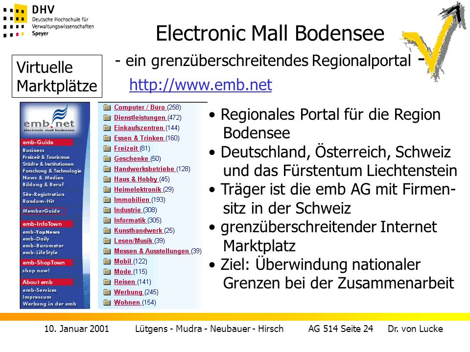 10. Januar 2001 Lütgens - Mudra - Neubauer - Hirsch AG 514 Seite 24 Dr. von Lucke Electronic Mall Bodensee - ein grenzüberschreitendes Regionalportal