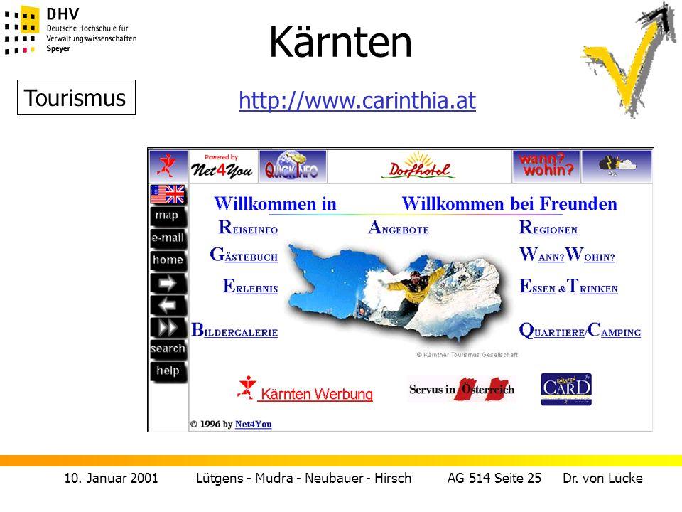 10. Januar 2001 Lütgens - Mudra - Neubauer - Hirsch AG 514 Seite 25 Dr. von Lucke Kärnten Tourismus http://www.carinthia.at