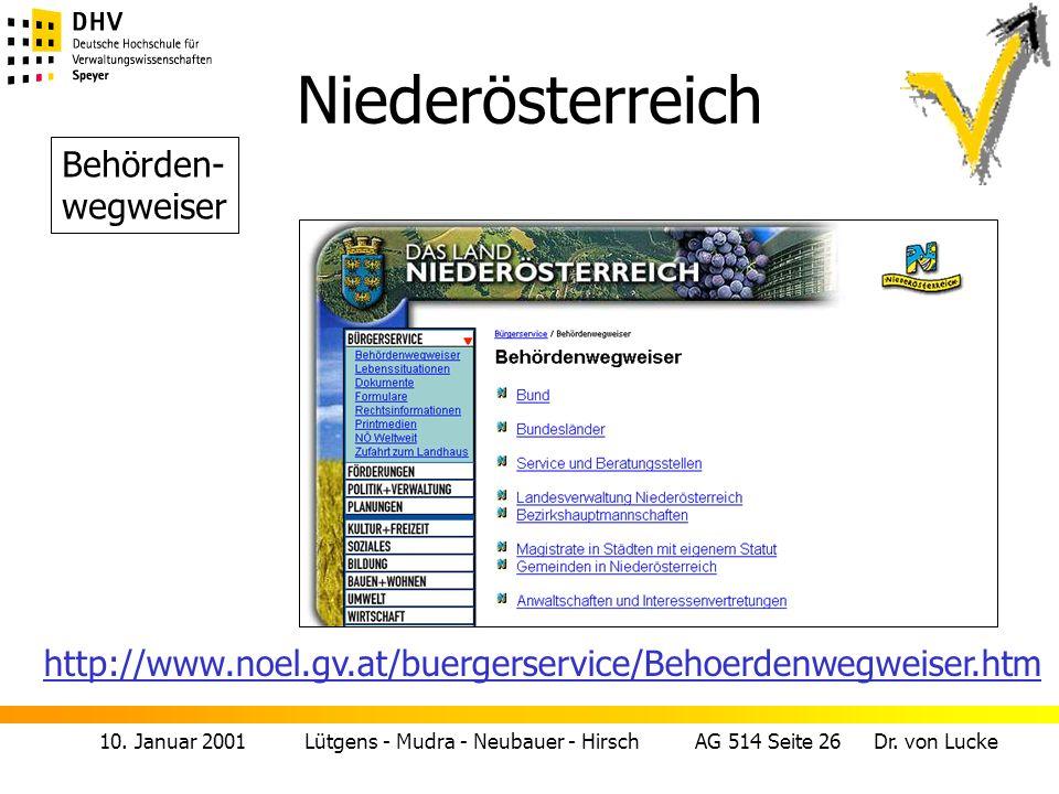 10. Januar 2001 Lütgens - Mudra - Neubauer - Hirsch AG 514 Seite 26 Dr. von Lucke Niederösterreich Behörden- wegweiser http://www.noel.gv.at/buergerse