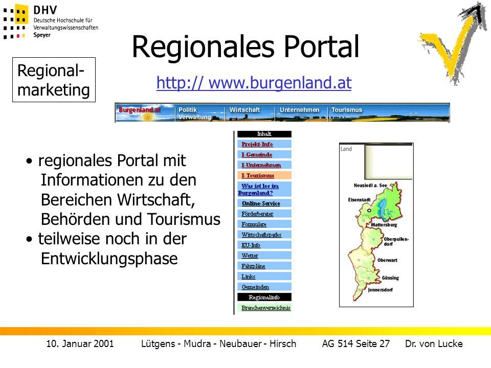 10. Januar 2001 Lütgens - Mudra - Neubauer - Hirsch AG 514 Seite 27 Dr. von Lucke Regionales Portal regionales Portal mit Informationen zu den Bereich
