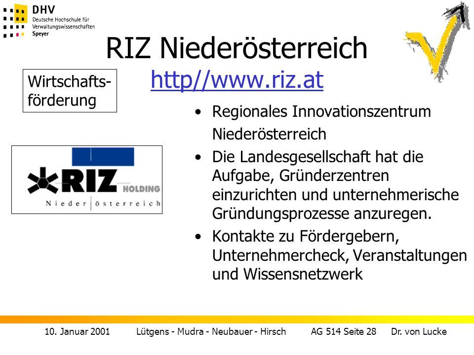 10. Januar 2001 Lütgens - Mudra - Neubauer - Hirsch AG 514 Seite 28 Dr. von Lucke RIZ Niederösterreich http//www.riz.at http//www.riz.at Regionales In