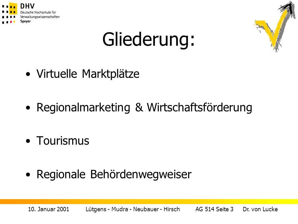 10. Januar 2001 Lütgens - Mudra - Neubauer - Hirsch AG 514 Seite 3 Dr. von Lucke Gliederung: Virtuelle Marktplätze Regionalmarketing & Wirtschaftsförd