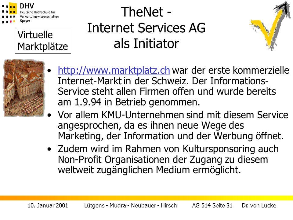 10. Januar 2001 Lütgens - Mudra - Neubauer - Hirsch AG 514 Seite 31 Dr. von Lucke TheNet - Internet Services AG als Initiator http://www.marktplatz.ch