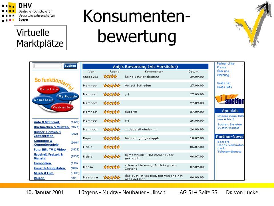 10. Januar 2001 Lütgens - Mudra - Neubauer - Hirsch AG 514 Seite 33 Dr. von Lucke Konsumenten- bewertung Virtuelle Marktplätze