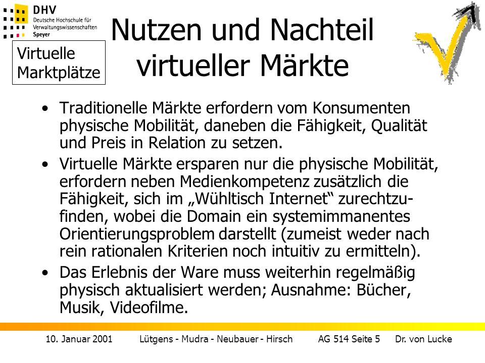 10. Januar 2001 Lütgens - Mudra - Neubauer - Hirsch AG 514 Seite 5 Dr. von Lucke Nutzen und Nachteil virtueller Märkte Traditionelle Märkte erfordern