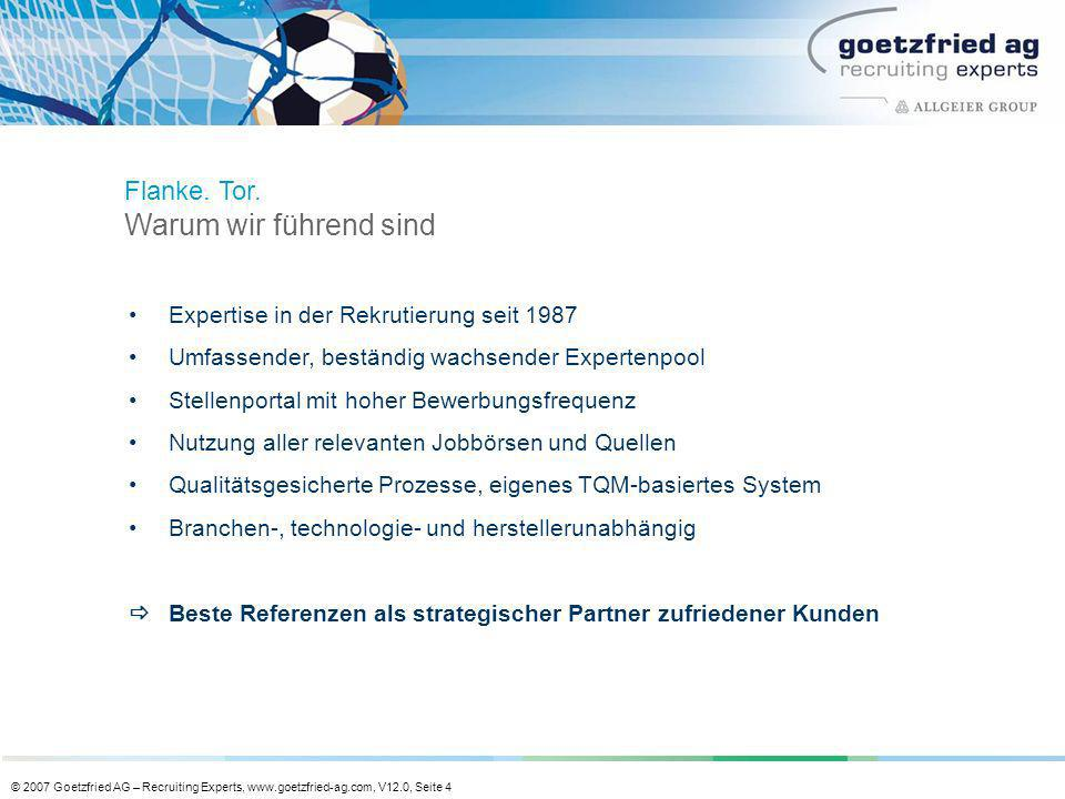 © 2007 Goetzfried AG – Recruiting Experts, www.goetzfried-ag.com, V12.0, Seite 4 Expertise in der Rekrutierung seit 1987 Umfassender, beständig wachse