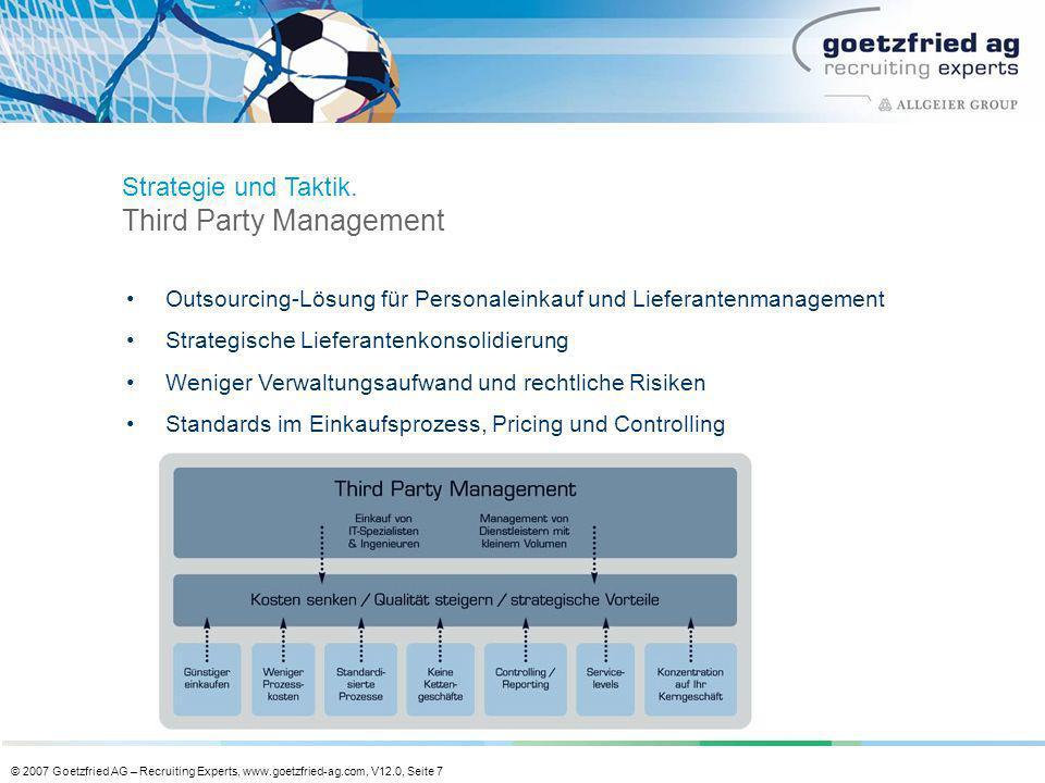 © 2007 Goetzfried AG – Recruiting Experts, www.goetzfried-ag.com, V12.0, Seite 7 Outsourcing-Lösung für Personaleinkauf und Lieferantenmanagement Stra