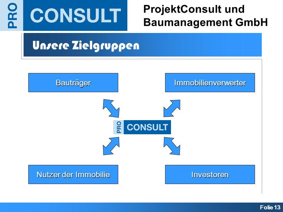 Folie 13 ProjektConsult und Baumanagement GmbH Unsere Zielgruppen BauträgerImmobilienverwerter Investoren Nutzer der Immobilie
