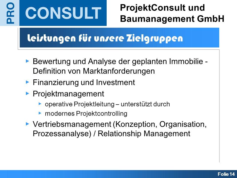 Folie 14 ProjektConsult und Baumanagement GmbH Bewertung und Analyse der geplanten Immobilie - Definition von Marktanforderungen Finanzierung und Inve