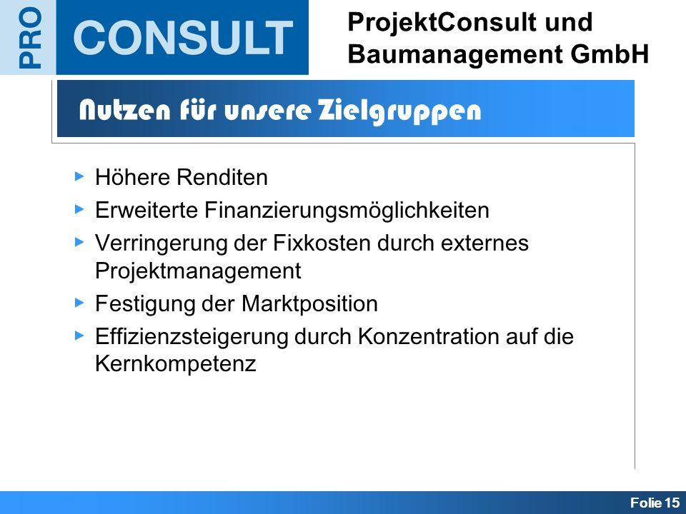 Folie 15 ProjektConsult und Baumanagement GmbH Höhere Renditen Erweiterte Finanzierungsmöglichkeiten Verringerung der Fixkosten durch externes Projekt