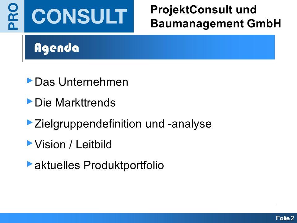 Folie 2 ProjektConsult und Baumanagement GmbH Agenda Das Unternehmen Die Markttrends Zielgruppendefinition und -analyse Vision / Leitbild aktuelles Pr