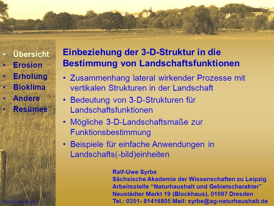 Ralf-Uwe Syrbe Laterale Prozesse und vertikale Strukturen MediumProzess3-D-Strukturmerkmale Wind Kaltluft Sturm, Verwehung Kaltluftfluss Randausprägung (CWED) barrierefreies Einzugsgebiet WasserErosion Abflussbildung max.