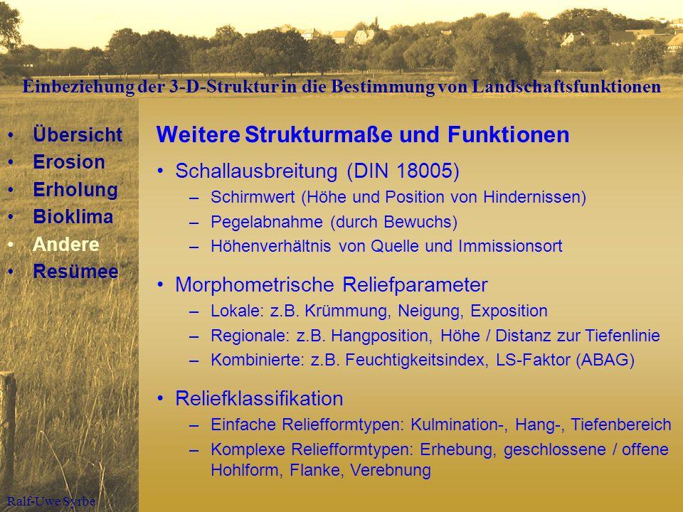 Ralf-Uwe Syrbe Weitere Strukturmaße und Funktionen Schallausbreitung (DIN 18005) –Schirmwert (Höhe und Position von Hindernissen) –Pegelabnahme (durch