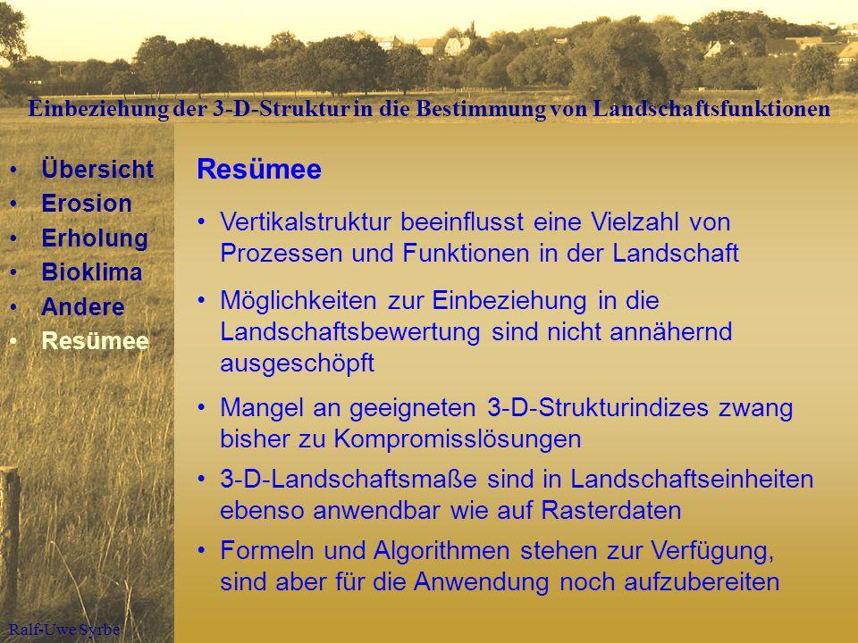 Ralf-Uwe Syrbe Resümee Vertikalstruktur beeinflusst eine Vielzahl von Prozessen und Funktionen in der Landschaft Übersicht Erosion Erholung Bioklima A