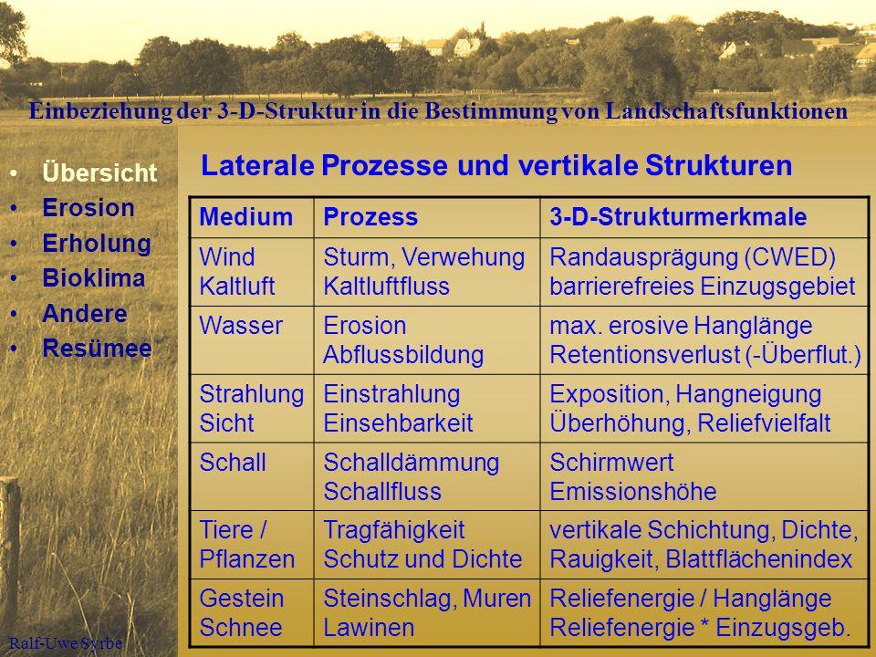 Ralf-Uwe Syrbe Laterale Prozesse und vertikale Strukturen MediumProzess3-D-Strukturmerkmale Wind Kaltluft Sturm, Verwehung Kaltluftfluss Randausprägun
