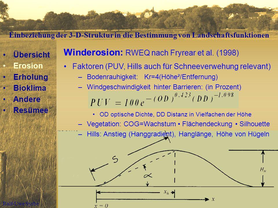 Ralf-Uwe Syrbe Winderosion: RWEQ nach Fryrear et al. (1998) Übersicht Erosion Erholung Bioklima Andere Resümee Faktoren (PUV, Hills auch für Schneever