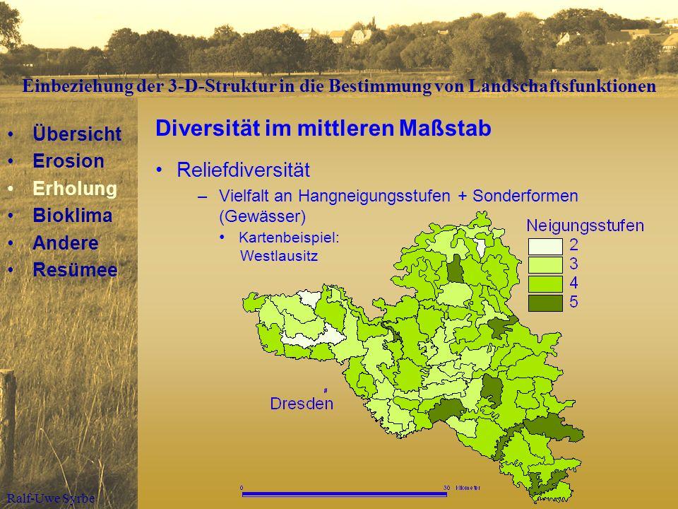 Ralf-Uwe Syrbe Diversität im mittleren Maßstab Reliefdiversität –Vielfalt an Hangneigungsstufen + Sonderformen (Gewässer) Kartenbeispiel: Westlausitz