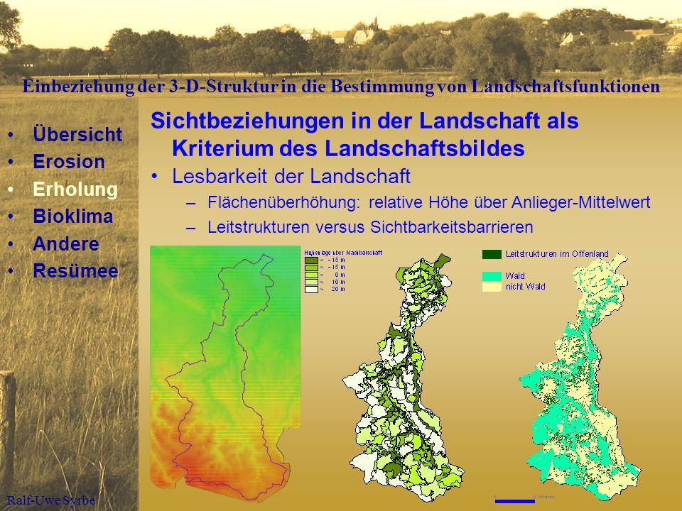 Ralf-Uwe Syrbe Sichtbeziehungen in der Landschaft als Kriterium des Landschaftsbildes Lesbarkeit der Landschaft –Flächenüberhöhung: relative Höhe über