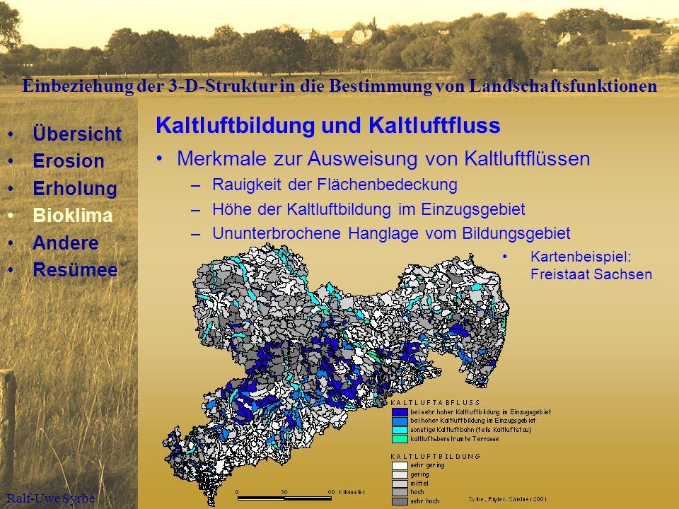 Ralf-Uwe Syrbe Kaltluftbildung und Kaltluftfluss Merkmale zur Ausweisung von Kaltluftflüssen –Rauigkeit der Flächenbedeckung –Höhe der Kaltluftbildung