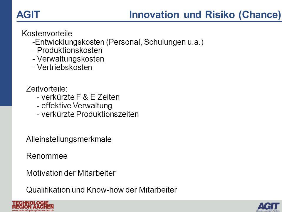 AGIT Innovation und Risiko (Chance) Kostenvorteile -Entwicklungskosten (Personal, Schulungen u.a.) - Produktionskosten - Verwaltungskosten - Vertriebs