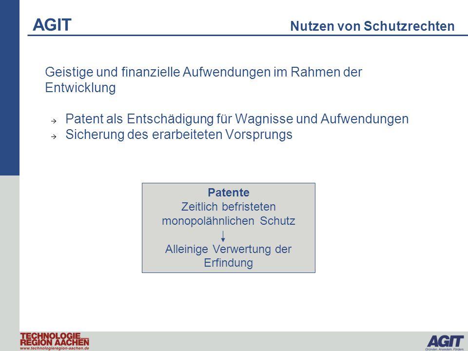 Geistige und finanzielle Aufwendungen im Rahmen der Entwicklung Patent als Entschädigung für Wagnisse und Aufwendungen Sicherung des erarbeiteten Vors
