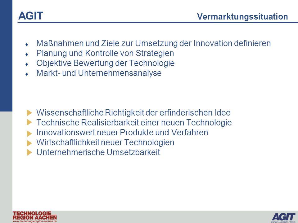 AGIT Vermarktungssituation Maßnahmen und Ziele zur Umsetzung der Innovation definieren Planung und Kontrolle von Strategien Objektive Bewertung der Te