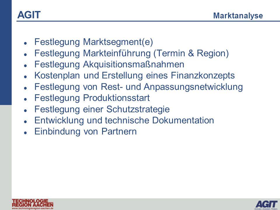 AGIT Marktanalyse Festlegung Marktsegment(e) Festlegung Markteinführung (Termin & Region) Festlegung Akquisitionsmaßnahmen Kostenplan und Erstellung e