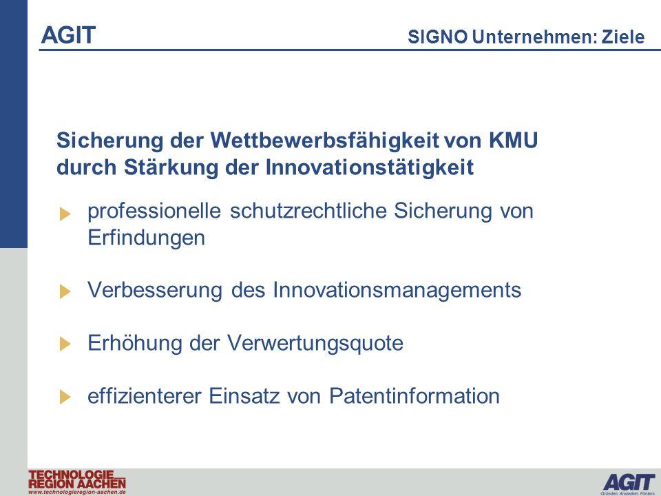 AGIT SIGNO Unternehmen: Ziele professionelle schutzrechtliche Sicherung von Erfindungen Verbesserung des Innovationsmanagements Erhöhung der Verwertun