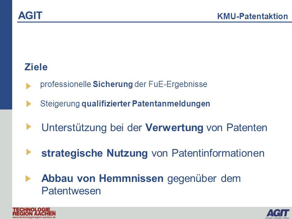 AGIT KMU-Patentaktion professionelle Sicherung der FuE-Ergebnisse Steigerung qualifizierter Patentanmeldungen Unterstützung bei der Verwertung von Pat