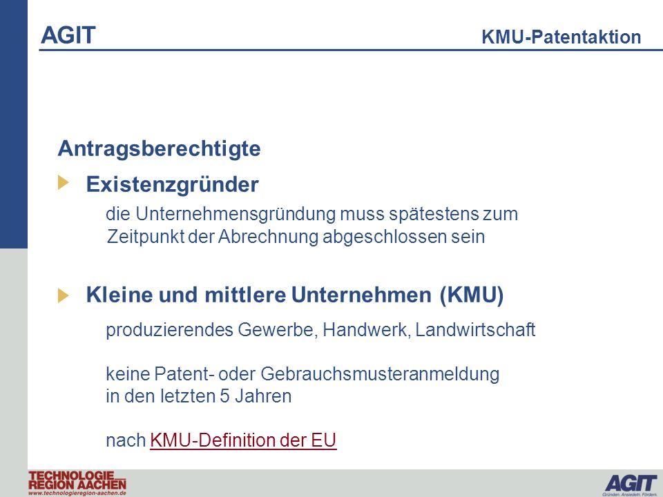 KMU-Patentaktion produzierendes Gewerbe, Handwerk, Landwirtschaft keine Patent- oder Gebrauchsmusteranmeldung in den letzten 5 Jahren nach KMU-Definit