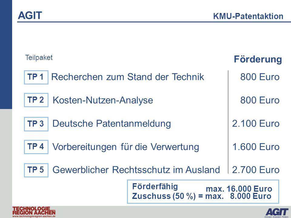 Recherchen zum Stand der Technik 800 Euro Kosten-Nutzen-Analyse 800 Euro Deutsche Patentanmeldung 2.100 Euro Vorbereitungen für die Verwertung 1.600 E