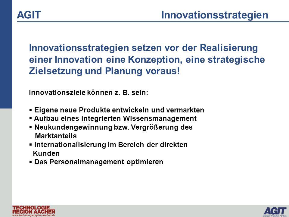 AGIT Innovationsstern Unternehmensziele/-strategie Personal/ManagementZielmärkte/-gruppen BetriebsprozesseMarketing Rendite Produkte Vertrieb