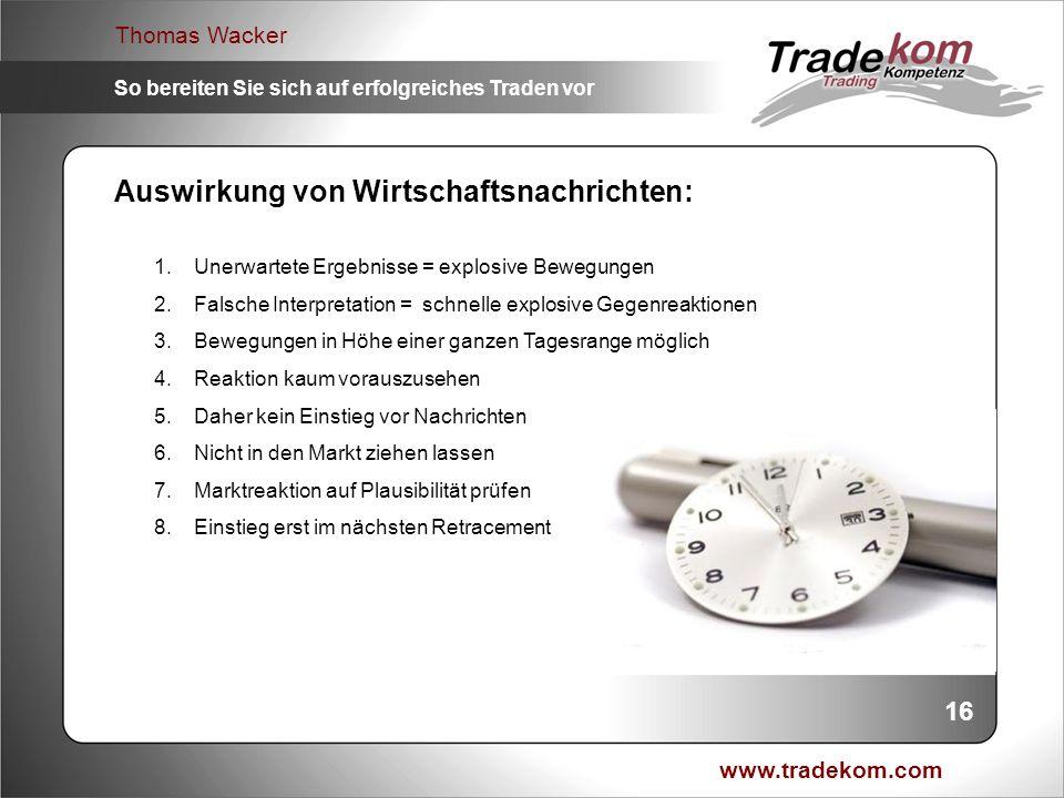 www.tradekom.com Thomas Wacker So bereiten Sie sich auf erfolgreiches Traden vor 16 Auswirkung von Wirtschaftsnachrichten: 1.Unerwartete Ergebnisse =