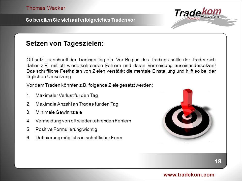 www.tradekom.com Thomas Wacker So bereiten Sie sich auf erfolgreiches Traden vor 19 Setzen von Tageszielen: Oft setzt zu schnell der Tradingalltag ein