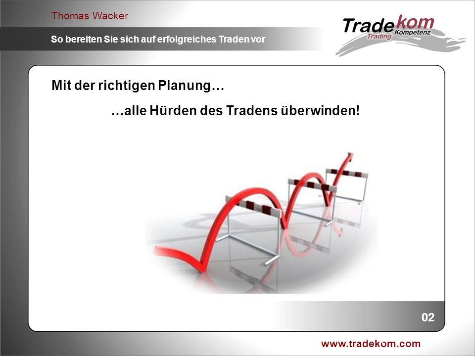 www.tradekom.com Thomas Wacker So bereiten Sie sich auf erfolgreiches Traden vor Moderator: Thomas Wacker 1.Seit 1998 an den EU.