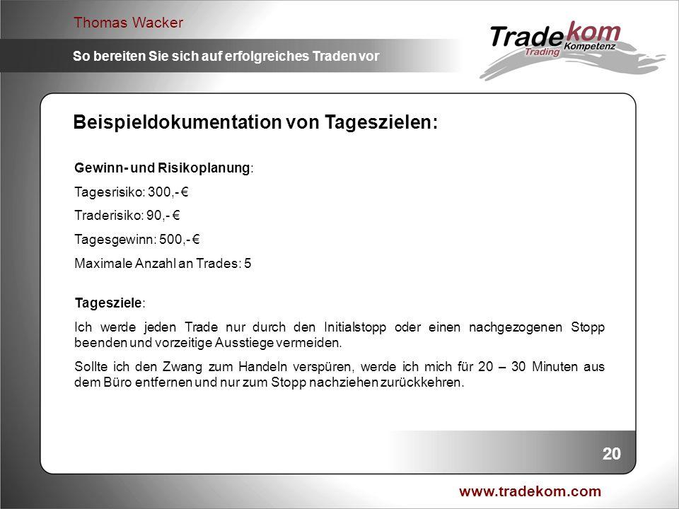 www.tradekom.com Thomas Wacker So bereiten Sie sich auf erfolgreiches Traden vor Gewinn- und Risikoplanung: Tagesrisiko: 300,- Traderisiko: 90,- Tages