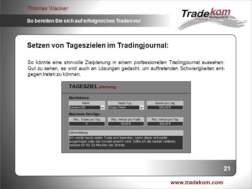 www.tradekom.com Thomas Wacker So bereiten Sie sich auf erfolgreiches Traden vor Setzen von Tageszielen im Tradingjournal: So könnte eine sinnvolle Zi