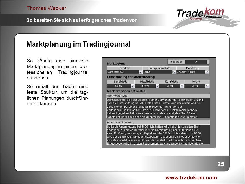 www.tradekom.com Thomas Wacker So bereiten Sie sich auf erfolgreiches Traden vor Marktplanung im Tradingjournal So könnte eine sinnvolle Marktplanung