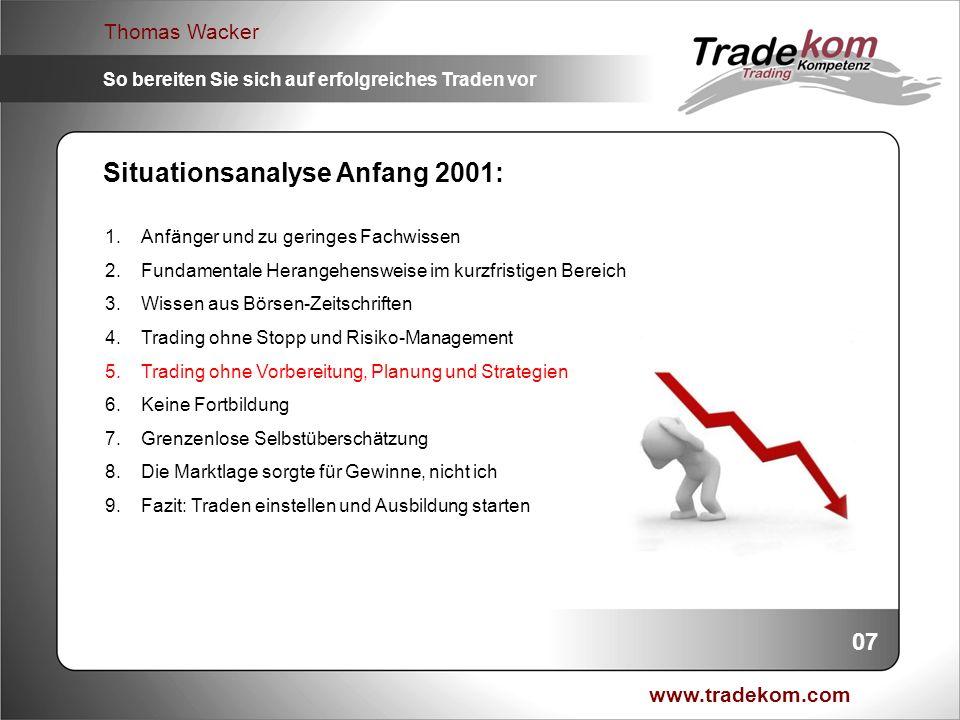 www.tradekom.com Thomas Wacker So bereiten Sie sich auf erfolgreiches Traden vor Weitermachen wie bisher, und Totalverlust riskieren.